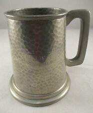 Viners Sheffield Vintage English Pewter -Tankard Hammered finish - Engraved  1pt