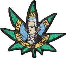 "Washington State Flag Pot Leaf Iron On Patch 4"" 420 Marijuana embroidered Bud"