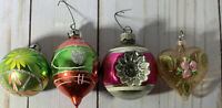Vintage Shiny Brite 4 Decorated  Balls W. Germany Shiny Brite