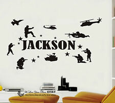 Custom Personalised Name Army Soldiers Military Wall Art Stickers Kid Boys Decor
