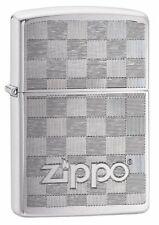 Zippo Weave Design Brushed Chrome Finish Genuine Windproof Lighter #49205