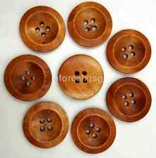 50pcs 25mm Wooden Circular Wood Button 4 holes Craft Sewing Big Size US