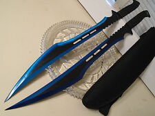 "Double Secret Agent Blue Titanium Twin Combat Sword Knife Machete Set 27"" 741BL"