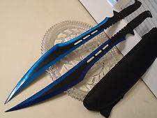 """Double Secret Agent Blue Titanium Twin Combat Sword Knife Machete Set 27"""" 741BL"""