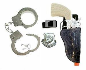 Kids Western Cowboy Cap Gun Holster Set w/ Die-Cast Pistol & Metal Handcuffs