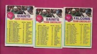 1973 TOPPS SAINTS + GIANTS + FALCONS  UNMARKED  CHECKLIST CARD (INV# A6275)