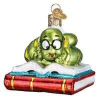 BOOKWORM OLD WORLD CHRISTMAS GLASS BOOK ENTHUSIAST READING ORNAMENT NWT 12514