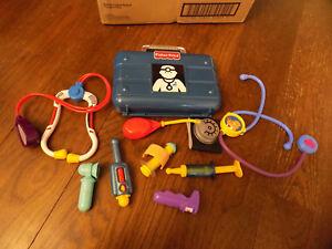 Lot Fisher-Price Vtg Toy Medical Nurse Doctor Kit Blue Case w Instruments Shots+