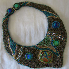 Handmade Embroidered Seed Bead & 6 Dichroic Glass Stones on Leather Necklace
