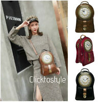 Ladies Functional Clock Face Convertible Grab Bag Backpack Shoulder Handbag C005