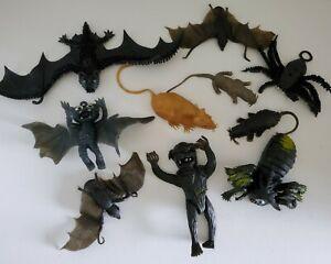 Vintage Lot Rubber Jiggler Monster Creature Wolf Beast Rat Spider Bat  Damaged