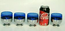 8Pc MiD CENTURY ART DECO CHASE CHROME & COBALT 4oz COCKTAiL BAR 4>GLASSES 4>CUP