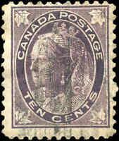 1897 Used Canada 10c F Scott #73 Queen Victoria Maple Leaf Stamp