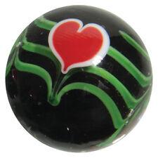 """22mm VALENTINE HEART Red/Black flower Handmade art glass Marble 7/8"""" SHOOTER"""