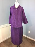 Eileen Fisher S M Silk Linen Skirt Pants Top Tank Set outfit lagenlook Purple B6