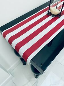 """RED & WHITE Striped Teflon Table Runner For Wedding Events 12"""" wide Any Length"""