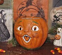 Primitive Antique Vtg Paper Mache Style Halloween Jack-O-Lantern Pumpkin Bucket