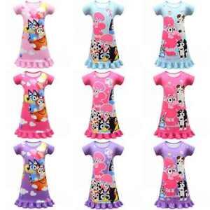 Long Girls Dress Pajamas bluey Cartoons Summer Dress Kids Casual pajamas Skirt