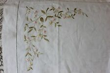 "Antique 19th Century Hand Embroidered Silk Society Work Cloth~34""Lx34""W"