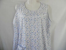 BLUE WHITE BOWS NO SLEEVE FLORAL NIGHTGOWN SLEEPWEAR POCKET LACE TRIM LARGE