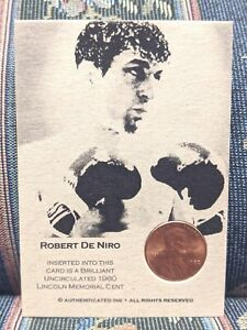 ROBERT DE NIRO RAGING BULL 1980 LINCOLN CENT COIN INSERTED AUTHENTIC INK CARD