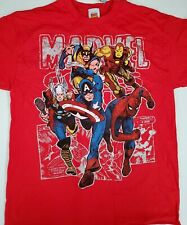 Marvel Comics Avengers Wolverine Ironman Thor Spiderman Men's T-shirt size L