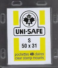 "Prinz Uni-Safe ""S"" Top Opening #50x31  Stamp Mounts (Made in Germany) 40 Clear"