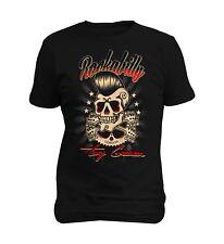 Rockabilly Greaser Skull Vintage Men T-shirt