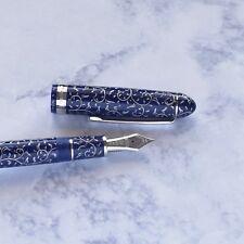 Platinum 3776 Century Karakusa Chinkin Blue Celluloid Fountain Pen Medium Nib