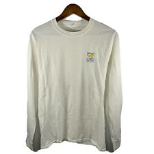 New listing Hanes Mens White Salty Dog Cafe Long Sleeve Crew Neck Surf T Shirt Size Small S