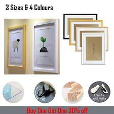 Morden Photo Picture Poster Frame Multiple Sizes Black White Gold Oak A2 Wooden