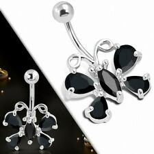 Charm Butterfly Stainless Steel pending Navel with Cz Black Jet Black Blvd