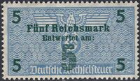 Stamp Germany Revenue WWII 3rd Reich Bill Exchange Fiscal Tax 5 Mark MNH