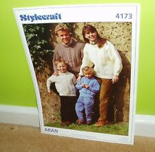 Stylecraft knitting pattern for family aran jumpers - 4173