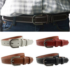 Men Women Classic Pin Buckle Belt Faux Leather Skinny Waistband Jeans Decoration