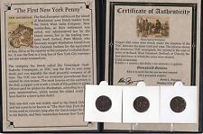 Dutch Duit 1st New York Penny in Display with Story of the coin & COA High Grade