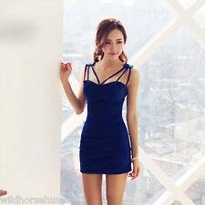 INTERNATIONAL Party Elegan V-Neck Solid Above Knee Sleeveless Bodycon Dress Blue