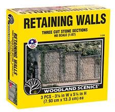Woodland Scenics C1259 HO Cut Stone Wing Wall (3) Train Scenery