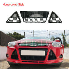 Front Bumper Grille Cover Honeycomb Intake Grill Set of 3 For Ford Focus 2011-14