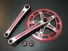 NOS Vintage Takagi Tourney crank set 165mm 44T Red old school BMX