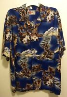 EUC Original Hilo Hattie Hawaiian Blue Floral Ukulele Aloha Camp Shirt Men's XL