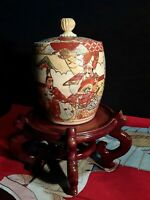 ANTIQUE JAPANESE VESSEL PRE 1900 SIGNATURE MARK ON LID &VESSSEL LACQUERED STAND