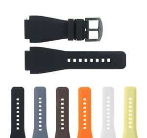 24MM NEW  RUBBER STRAP DIVER WATCH BAND FOR BELL ROSS BR-01-BR-03  PVD BUCKLE