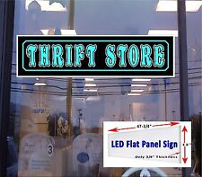 "LED Flat Panel Light Box Sign - THRIFT STORE - 48""X12"""
