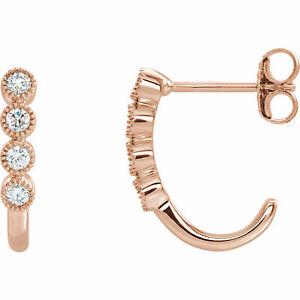 Diamond J-Hoop Earrings In 14K Rose Gold (1/4 ct. tw