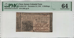 DECEMBER 31 1763 NEW JERSEY COLONIAL NOTE 6 SHILLINGS NJ-155 PMG CH UNC CU 64