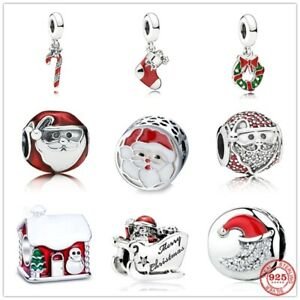 Genuine 925 Sterling Silver Christmas Santa Claus Charms Without Pandora Pouch