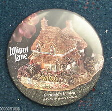 Lilliput Lane Pinback Pin Button Gertrude's Garden 1995