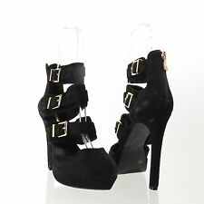 Women's BCBGeneration Spotlight Shoes Black Suede Buckle Platform Heel Sz 9.5 M