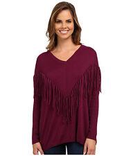 NWT DKNY Dolman Sweater Women's Size MEDIUM Purple Fringe Pullover